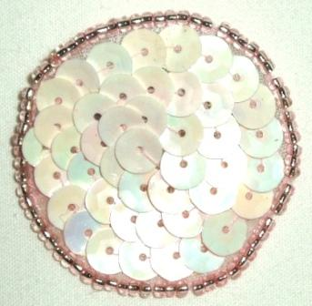 LC268  Pink AB Dot Round Circle Sequin Beaded Applique  1.5""
