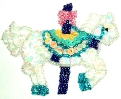 "LC288  White Carousel Horse Sequin Beaded Applique 3.25"""