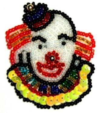 "LC322 Clown Sequin Beaded Applique 2.5"""