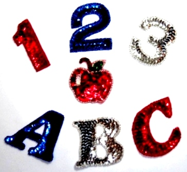 LC324  Pre-school (123 & ABC ) Apple Sequin Beaded Appliques