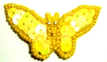 """LC330 Yellow Butterfly Sequin Beaded Applique 1.75"""""""