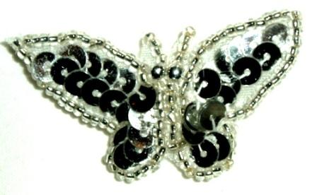 """LC333  Silver Butterfly Sequin Beaded Applique 1.75"""""""