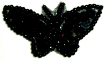 """LC339  Black Butterfly Sequin Beaded Applique 1.75"""""""