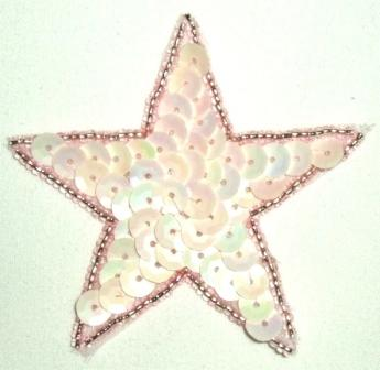 """LC354 Pink AB Star Sequin Beaded Applique  2.5"""""""