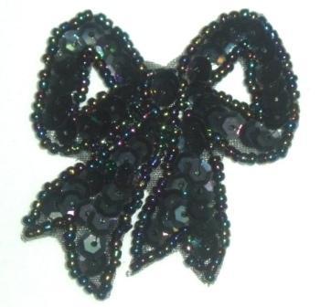 "LC359  Black AB Bow Sequin Beaded Applique  2.25"""