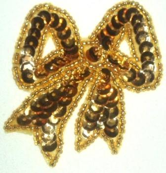 """LC359  Gold Bow Sequin Beaded Applique  2.25"""""""