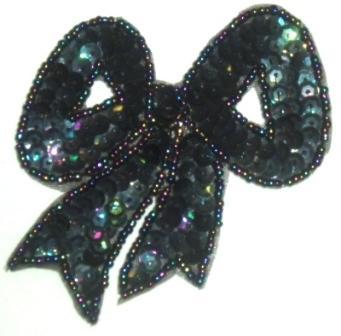 "LC361  Black AB Bow Sequin Beaded Applique  3.25"""