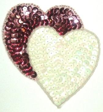 """LC362 Mauve White Double Heart Sequin Beaded Applique  3.75"""""""