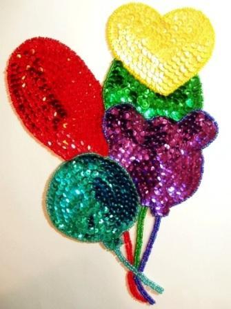 "LC62 Balloons Sequin Beaded Applique 8.5"""