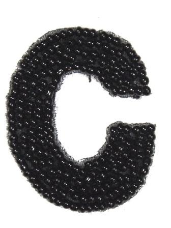 K1  Black Beaded Letter ( C ) Applique  1.75""
