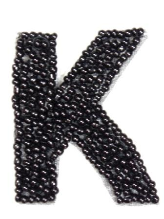K1  Black Beaded Letter ( K ) Applique  1.75""
