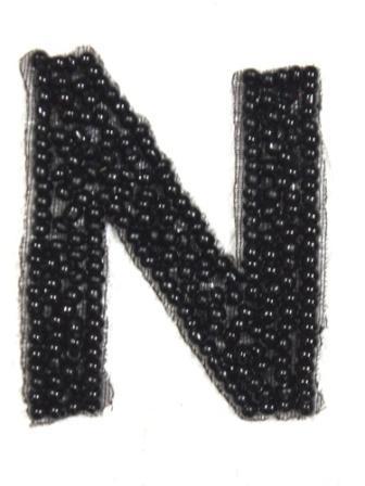 """K1  Black Beaded Letter ( N ) Applique  1.75"""""""