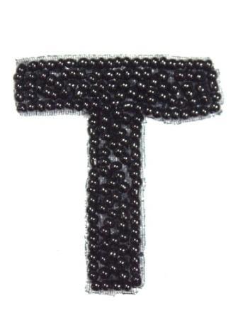 """K1  Black Beaded Letter ( T ) Applique  1.75"""""""