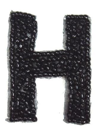 K1  Black Beaded Letter ( H ) Applique  1.75""