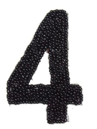 """K4  Black Beaded Number ( 4 ) Applique  2.5"""""""