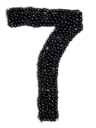 """K4  Black Beaded Number ( 7 ) Applique  2.5"""""""