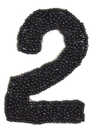 """K4  Black Beaded Number ( 2 ) Applique  2.5"""""""