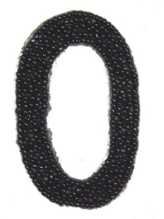"""K4  Black Beaded Number ( 0 ) Applique  2.5"""""""