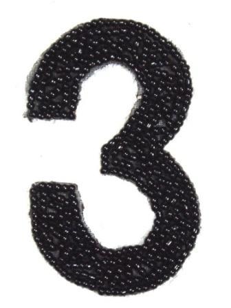 """K4  Black Beaded Number ( 3 ) Applique  2.5"""""""