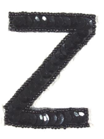 K2  Black Sequin Letter ( Z ) Applique  2.75""
