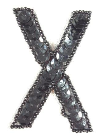 """K2  Black Sequin Letter ( X ) Applique  2.75"""""""