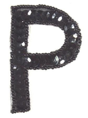 K2  Black Sequin Letter ( P ) Applique  2.75""