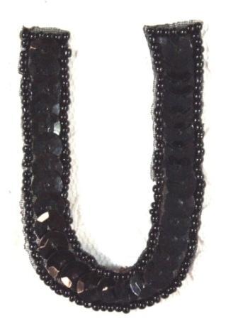 """K2  Black Sequin Letter ( U ) Applique  2.75"""""""