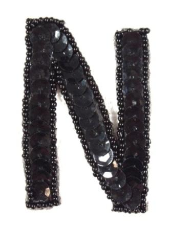 K2  Black Sequin Letter ( N ) Applique  2.75""