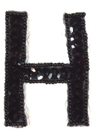 K2  Black Sequin Letter ( H ) Applique  2.75""