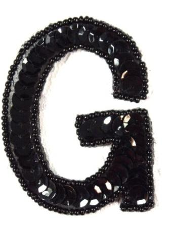K2  Black Sequin Letter ( G ) Applique  2.75""