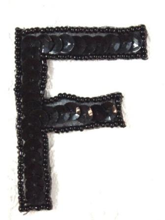 K2  Black Sequin Letter ( F ) Applique  2.75""