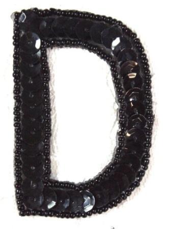 """K2  Black Sequin Letter ( D ) Applique  2.75"""""""