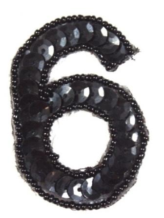 K3  Black Sequin Number ( 6 ) Applique  2.5""