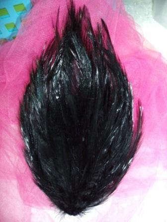 "MR002  Black Feather Pad Applique 7"""