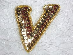 0274A  Letter ( V ) Sequin Beaded Applique 2""