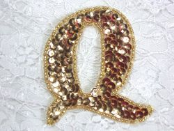 0274A  Letter ( Q ) Sequin Beaded Applique 2.25""