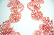 Sequin Appliques Coral Mirror Pair Beaded Dance Patch 0183X
