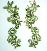 "Appliques Sequin Beaded Olive Green Mirror Pair Costume Designer Motifs 10""  0183X"