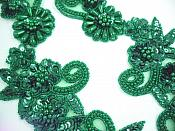Sequin Beaded Appliques Hunter Green Mirror Pair Sewing Patch  0183X