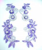 Appliques Purple Silver Mirror Pair Holographic Sequin Beaded 0183