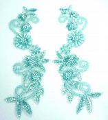 """Appliques Sequin Beaded Seafoam AB Mirror Pair Holographic 10""""  0183X"""