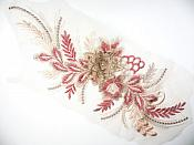 "3D Applique Embroidered Floral Metallic Gold Rust Rhinestone Craft Patch 14"" (GB717)"