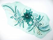 "3D Applique Embroidered Floral Metallic Teal Beige Rhinestone Craft Patch 14"" (GB717)"