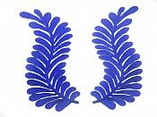 "Blue Embroidered Appliques Mirror Pair Iron On 7.5"" GB306X"