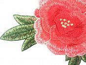 """Floral Embroidered Applique Red Coral Dance Costume 7.5"""" GB699"""