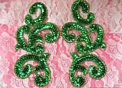 "Sequin Appliques Green Mirror Pair Scroll Designer Beaded Iron On 7"" (XR357X)"