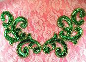"""Sequin Appliques Green Mirror Pair Scroll Designer Beaded Iron On 7"""" (XR357X)"""