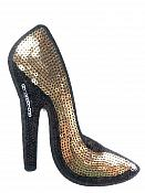"High Heeled Shoe Applique Sequin Gold Iron On Patch 5.5"" GB702-gl"