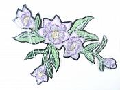 """Floral Embroidered Applique Lavender Crafting Motif Clothing Patch 8"""" GB722"""