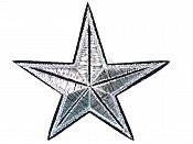 """Star Embroidered Applique Metallic Silver Black Iron On Patch 3.25"""" GB707"""